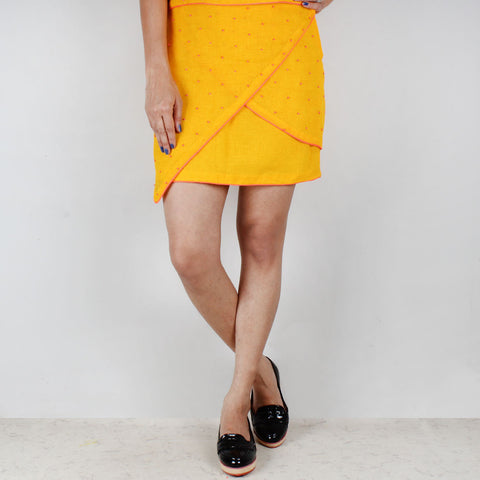 Flap Cut Beaded Twill Skirt by NAKITA SINGH