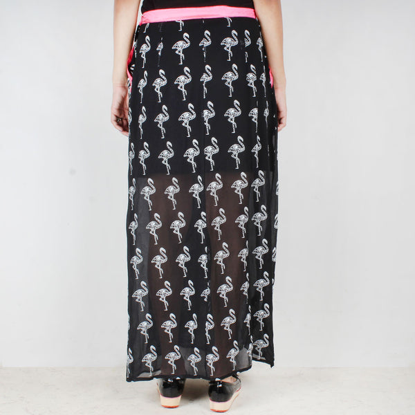 Black Georgette Flamigo Skirt With Pink Accents