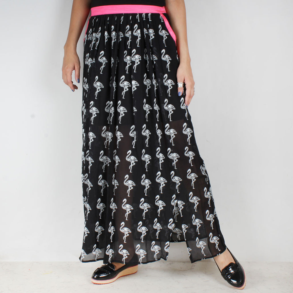 Black Georgette Flamigo Skirt with Pink Accents by NAKITA SINGH