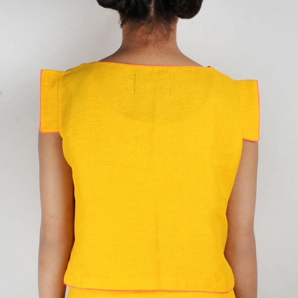 Yellow Silk Twill Beaded Crop Top