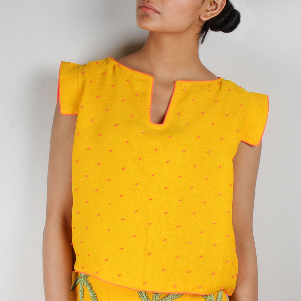 Yellow Silk Twill Beaded Crop Top by NAKITA SINGH