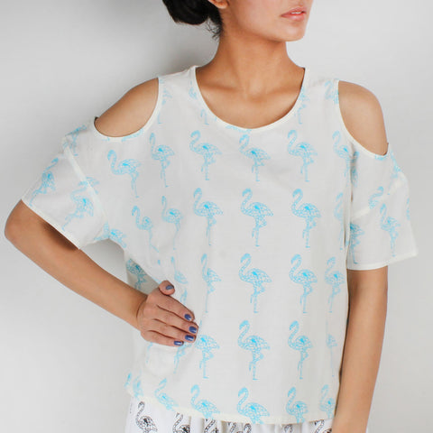 Shoulder Cut Flamingo Printed Top by NAKITA SINGH