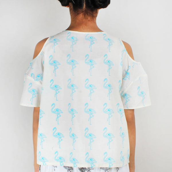 Shoulder Cut Flamingo Printed Top