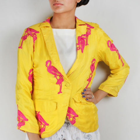 Yellow Flamingo Embroidered Habutai Silk Blazer by NAKITA SINGH