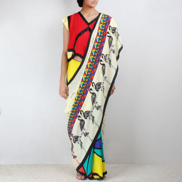 Flamingo Printed Silk Crepe Aztec Saree
