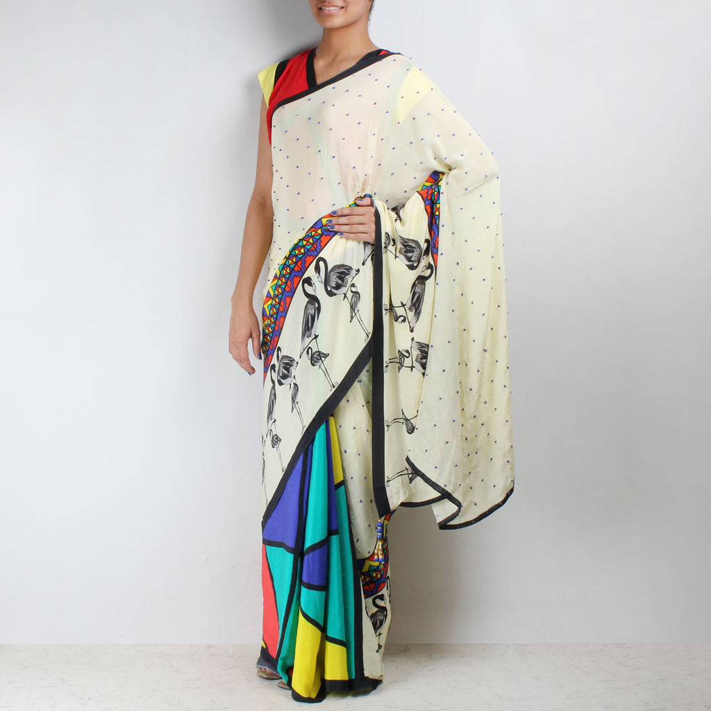 Flamingo Printed Silk Crepe Aztec Saree by NAKITA SINGH