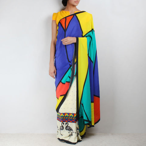 Silk Crepe Flamingo Printed Aztec Saree by NAKITA SINGH