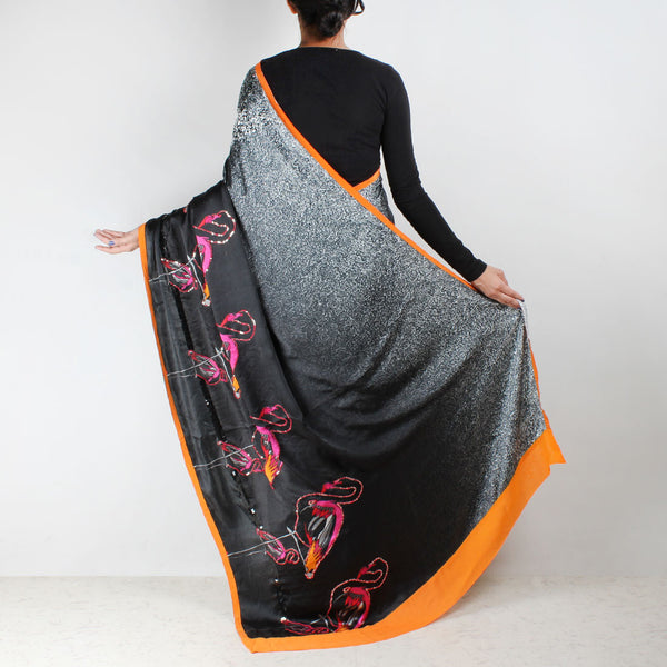 Black Satin Digital Printed Abstract Saree