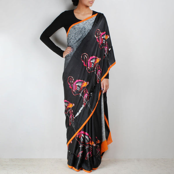 Black Satin Digital Printed Abstract Saree by NAKITA SINGH