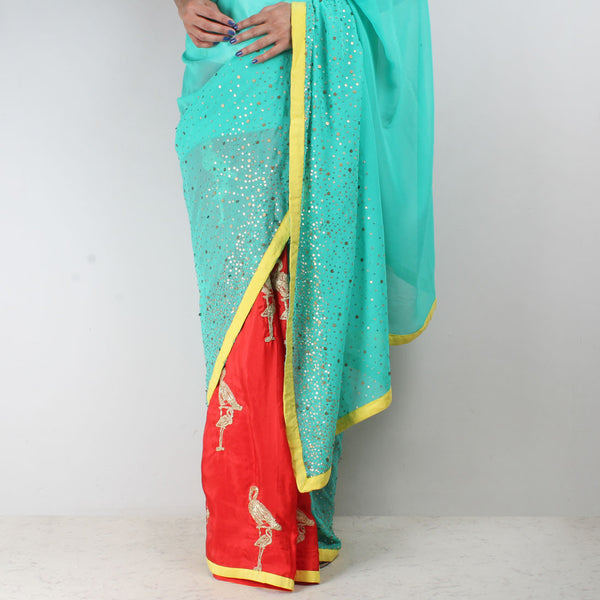 Georgette Silk Half & Half Flamingo Embroidered Saree