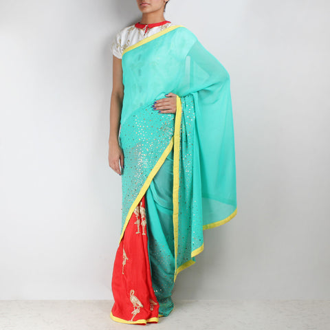 Georgette Silk Half & Half Flamingo Embroidered Saree by NAKITA SINGH