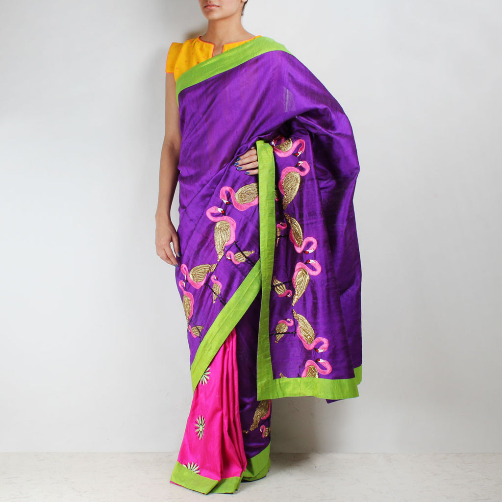 Twin Colored Raw Silk Flamingo Embroidered Saree by NAKITA SINGH
