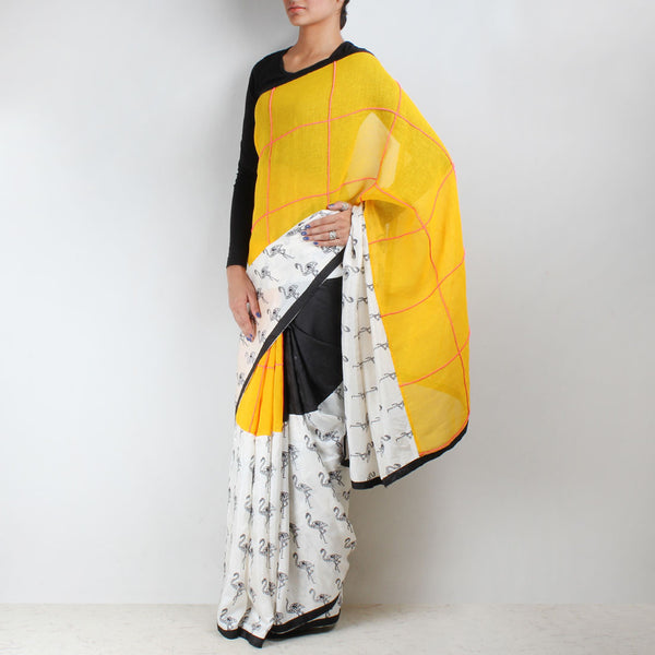 Black - Yellow Color Block Silk Twill Saree by NAKITA SINGH