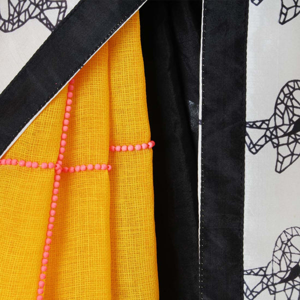 Black - Yellow Color Block Silk Twill Saree