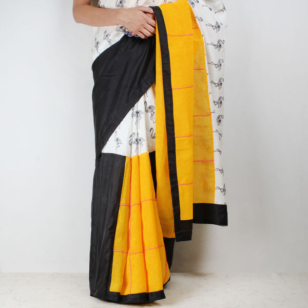 Flamingo Printed Silk Twill Half & Half Saree
