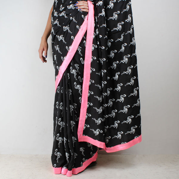 Black Habutai Silk Flamingo Printed Saree