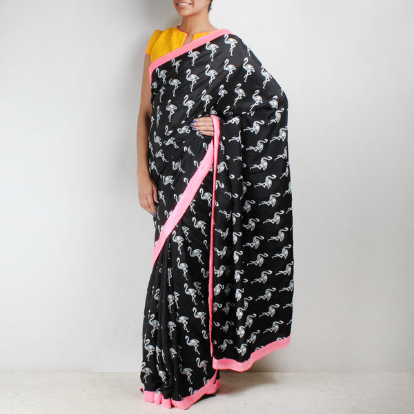 Black Habutai Silk Flamingo Printed Saree by NAKITA SINGH