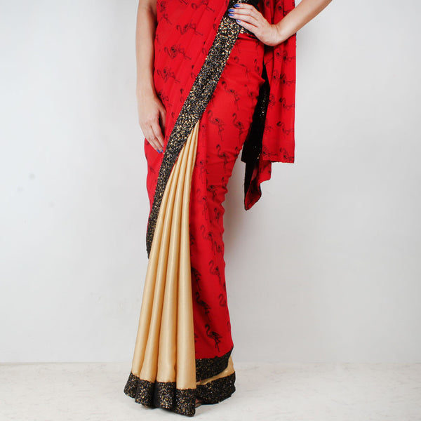 Golden & Red Flamingo Printed Saree With Sequin Border
