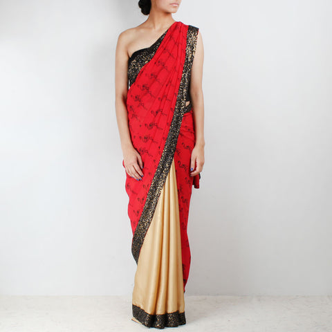Golden & Red Flamingo Printed Saree With Sequin Border by NAKITA SINGH