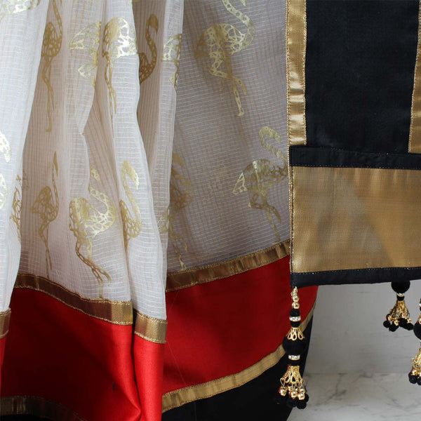 White Flamingo Printed Chanderi Saree