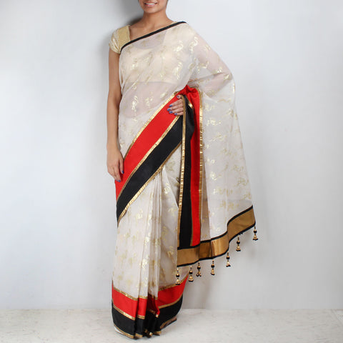 White Flamingo Printed Chanderi Saree by NAKITA SINGH