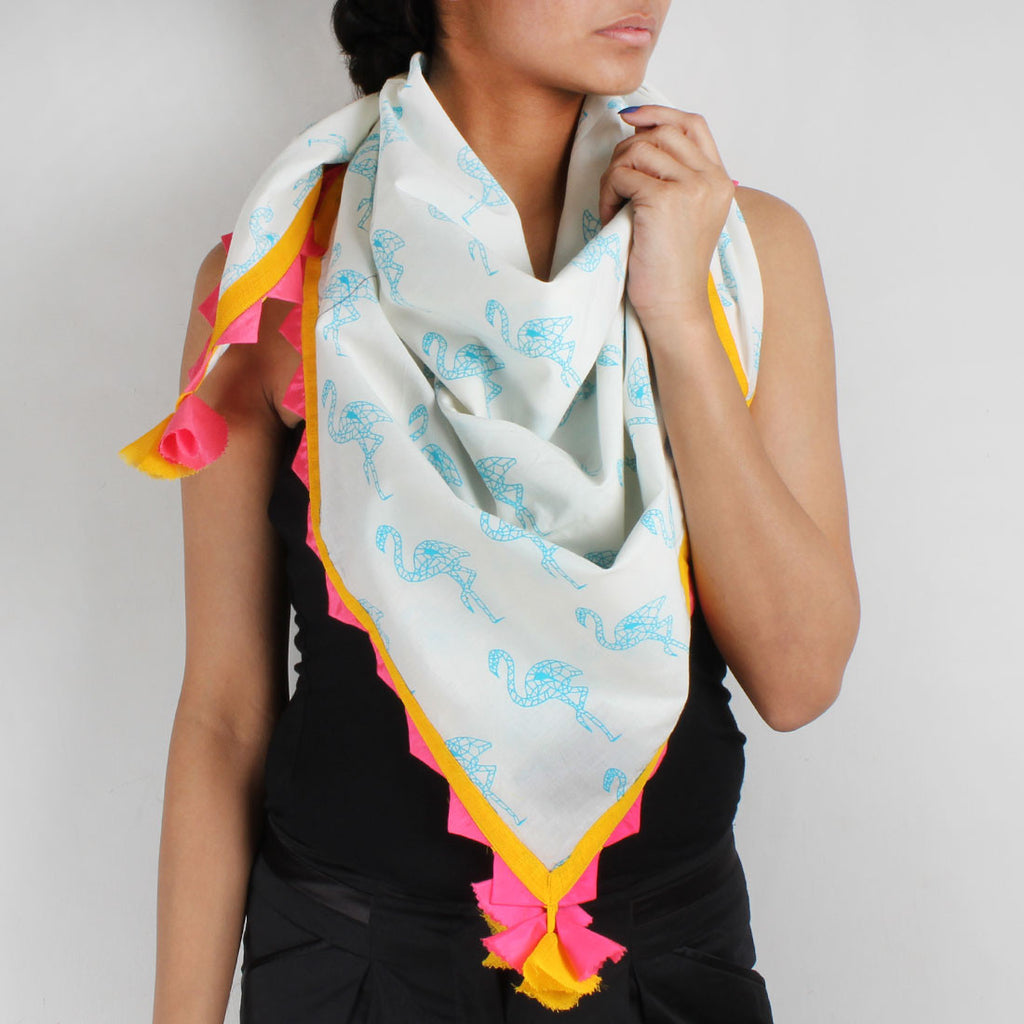 White Flamingo Cotton Scarf With Colorful Tassels by NAKITA SINGH