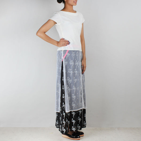 Set Of White Georgette Top & Black Flamingo Skirt