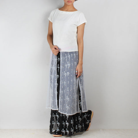 Set Of White Georgette Top & Black Flamingo Skirt by NAKITA SINGH