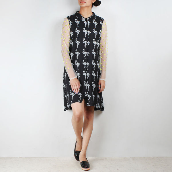 Black Flamingo Shirt Style Tunic by NAKITA SINGH