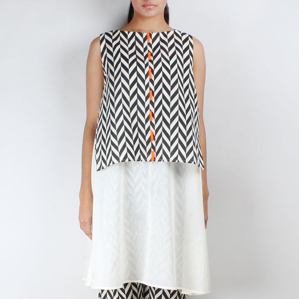 Chevron Organic Cotton Overlay Tunic by NAKITA SINGH