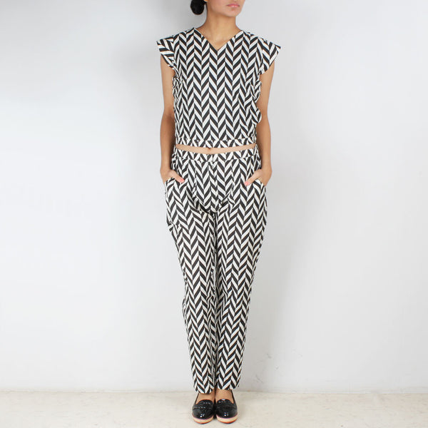 Set Of Chevron Crop Top Trousers & Scarf