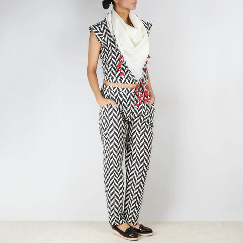 Set Of Chevron Crop Top Trousers & Scarf by NAKITA SINGH