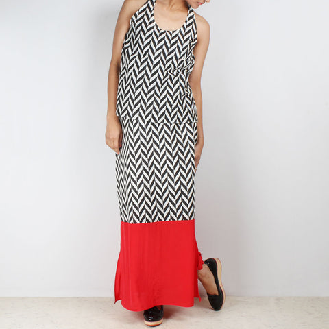 Set Of Chevron Halter Top & High Waist Color Block Skirt by NAKITA SINGH
