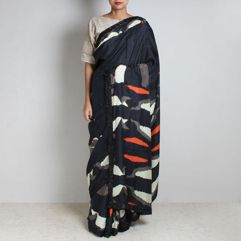 Black Abstract Gamer Print Silk Saree With Sequins Border by NAKITA SINGH