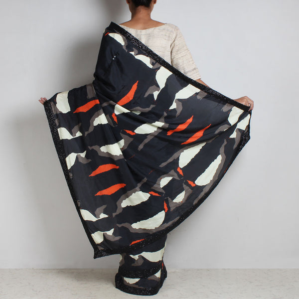 Black Abstract Gamer Print Silk Saree With Sequins Border