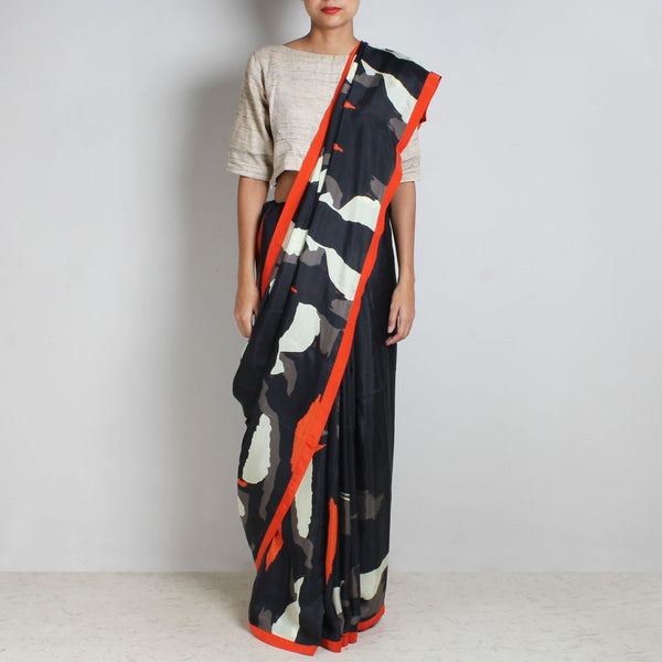 Black Abstract Gamer Print Silk Saree With Orange Contrast Border