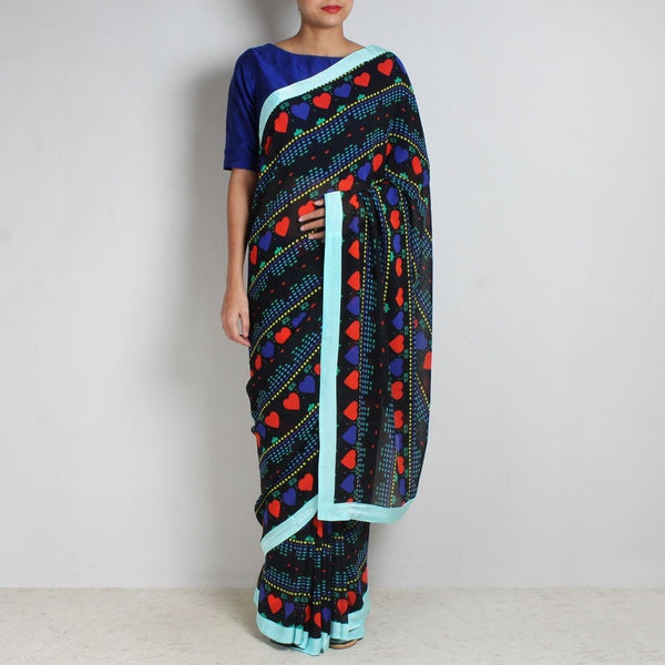 Black Abstract Gamer Heart Print Georgette Saree by NAKITA SINGH