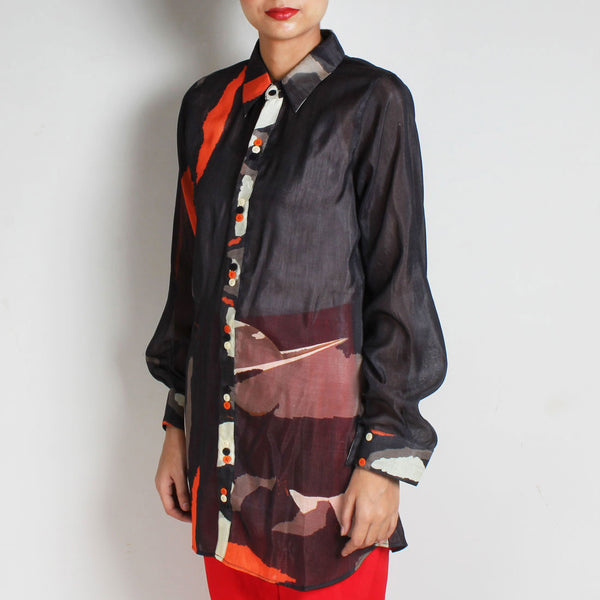 Black Abstract Print Silk Chanderi Shirt with Colourful Buttons