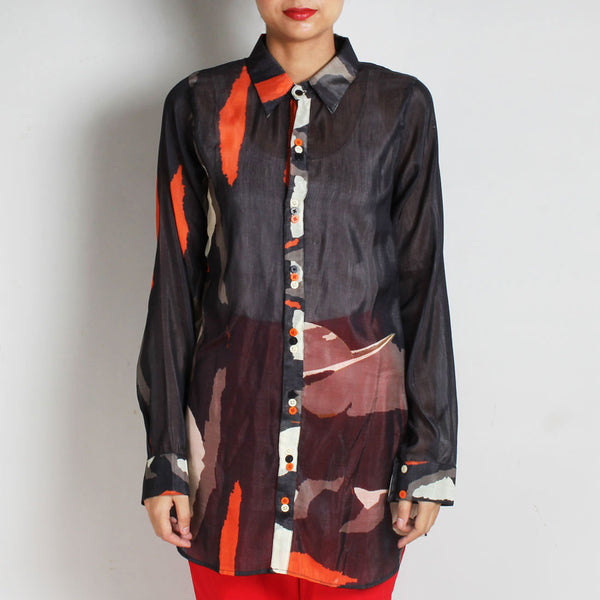Black Abstract Print Silk Chanderi Shirt with Colourful Buttons by NAKITA SINGH