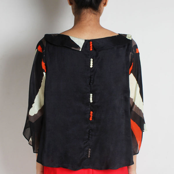 Black Abstract Silk Chanderi Flare Top