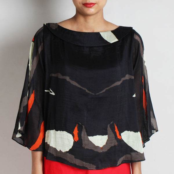 Black Abstract Silk Chanderi Flare Top by NAKITA SINGH