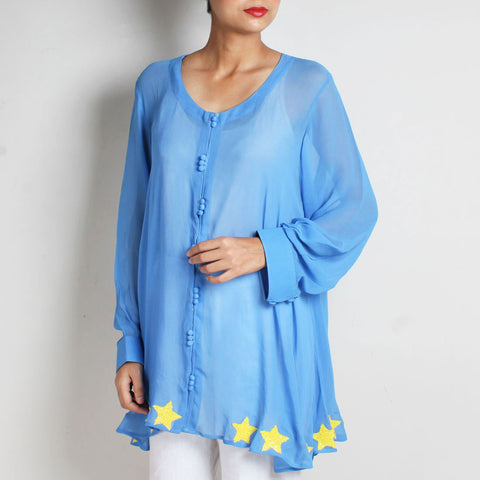 Blue Star Patch A-Line Georgette Shirt by NAKITA SINGH