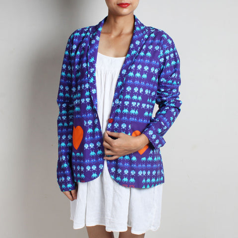Purple Gamer Heart Print Cotton Jacket by NAKITA SINGH