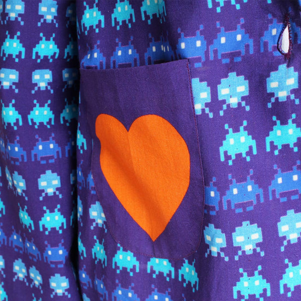 Purple Gamer Heart Print Cotton Jacket