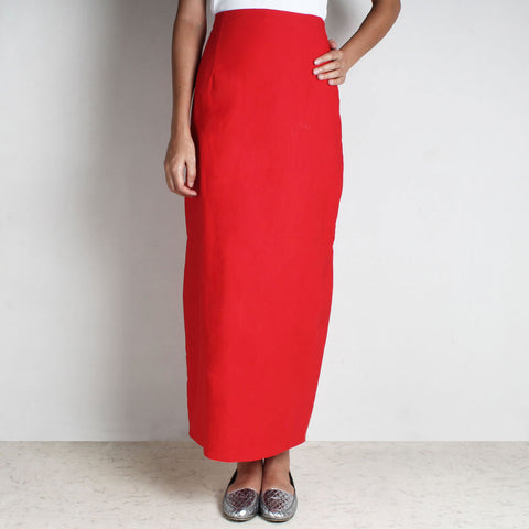 Red Knit High Waist Skirt by NAKITA SINGH