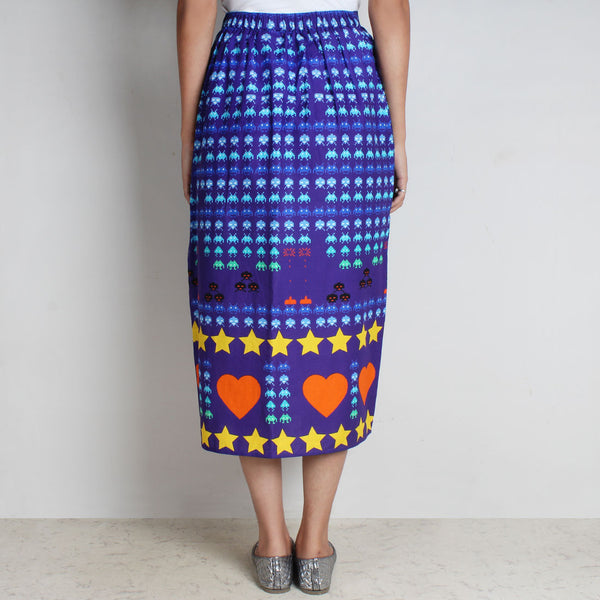 Purple Gamer Heart Print Cotton Skirt