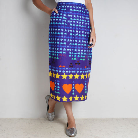 Purple Gamer Heart Print Cotton Skirt by NAKITA SINGH