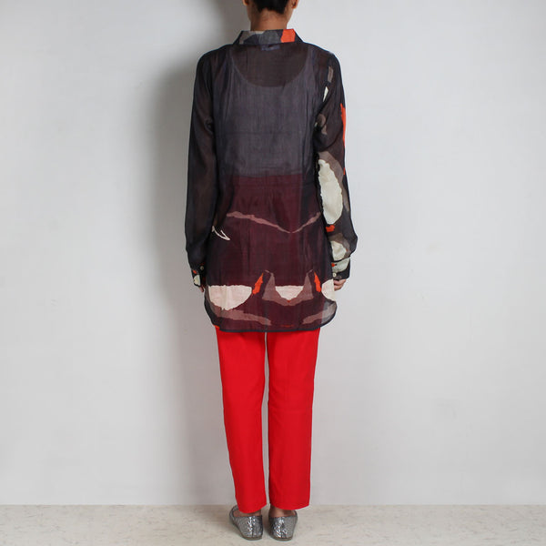 Set Of Black Abstract Print Silk Chanderi Shirt & Red Lycra Knit Pant
