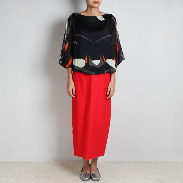 Set Of Black Abstract Silk Chanderi Top & Red Knit High Waist Skirt by NAKITA SINGH
