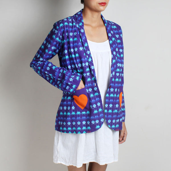 Set Of Purple Gamer Print Cotton Jacket & Cotton Skirt